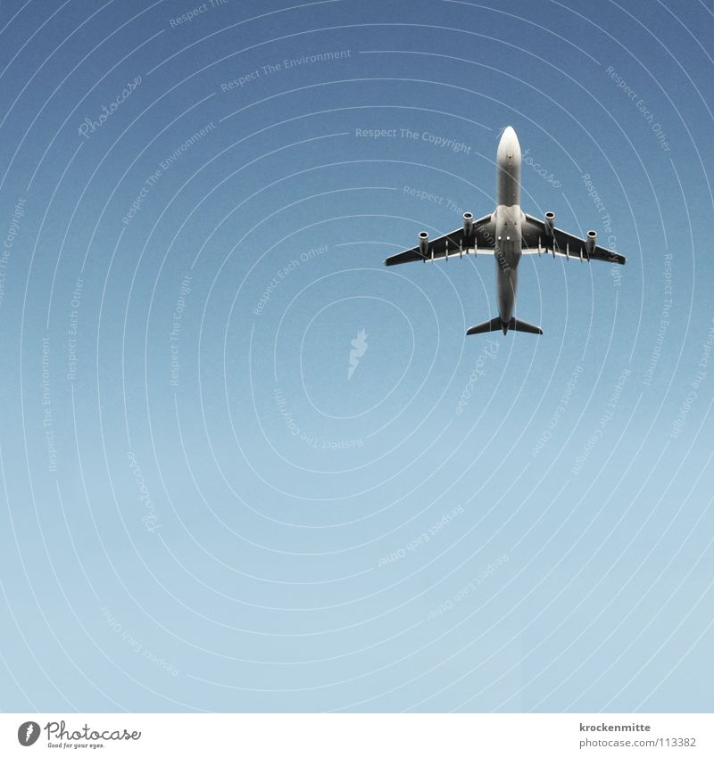 Sky Blue Vacation & Travel Airplane Flying Aviation Wing Engines