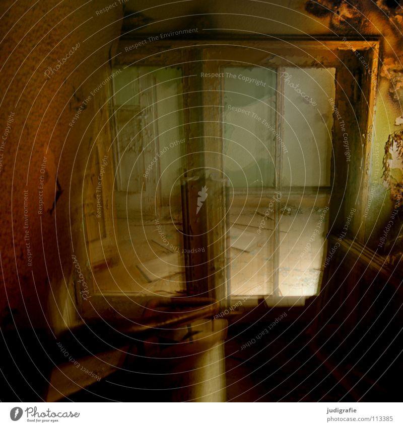Old Loneliness Window Movement Fear Glass Door Industry Stairs Factory Broken Construction site Derelict Handrail Panic