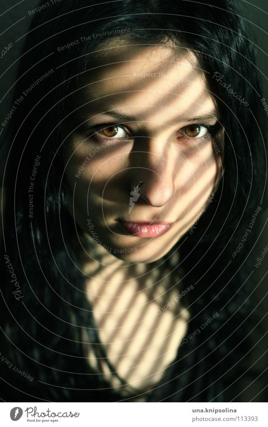 penumbra Young woman Youth (Young adults) Woman Adults Black-haired Dark Bright Brown Visual spectacle Beam of light Light Shadow Sunlight Portrait photograph