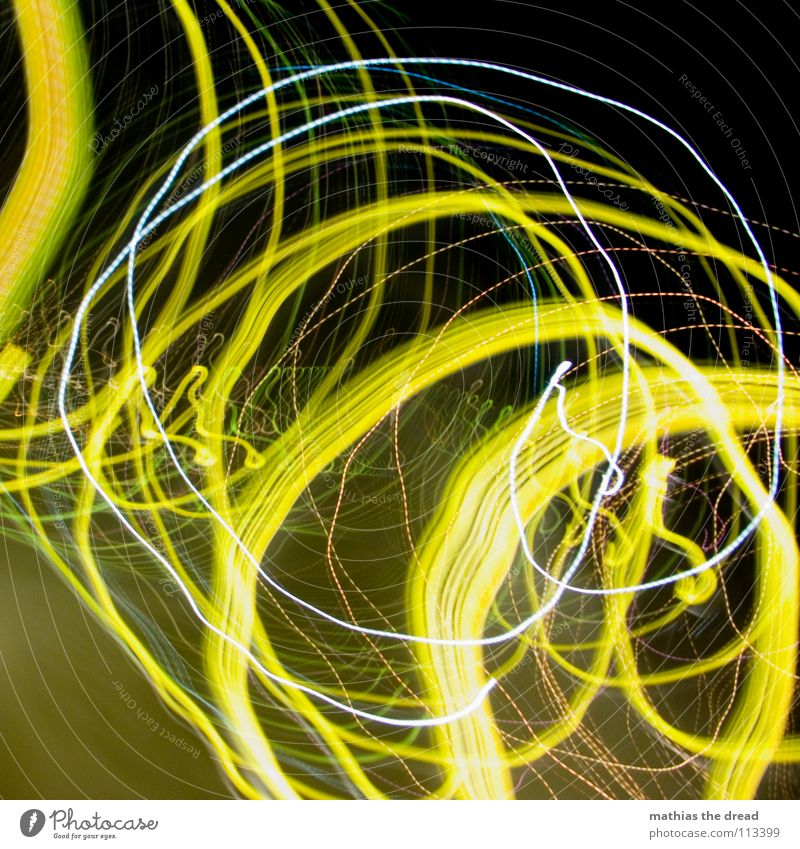 That was a long way home! I Light Circle Point of light Yellow White Intoxicant Experimental Night Dark Black Crazy Playing Joy Long exposure Blur Distorted