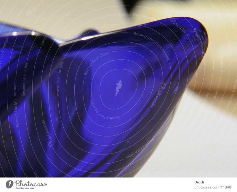 Blue Glass Curve Bowl Photographic technology