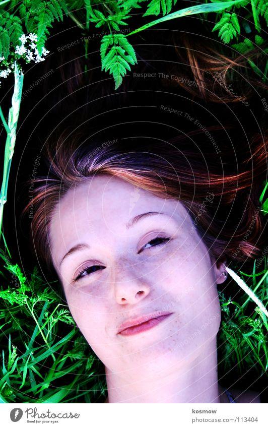 Woman Green Summer Meadow Lie Dreamily Lean Degrees Celsius