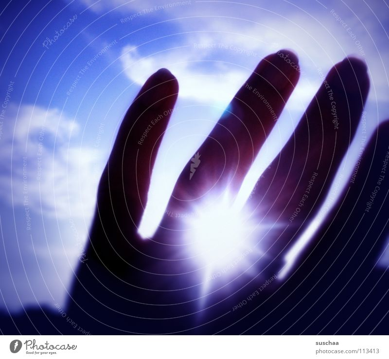 Hand Sky Sun Blue Clouds Bright Fingers Violet Celestial bodies and the universe Ring finger
