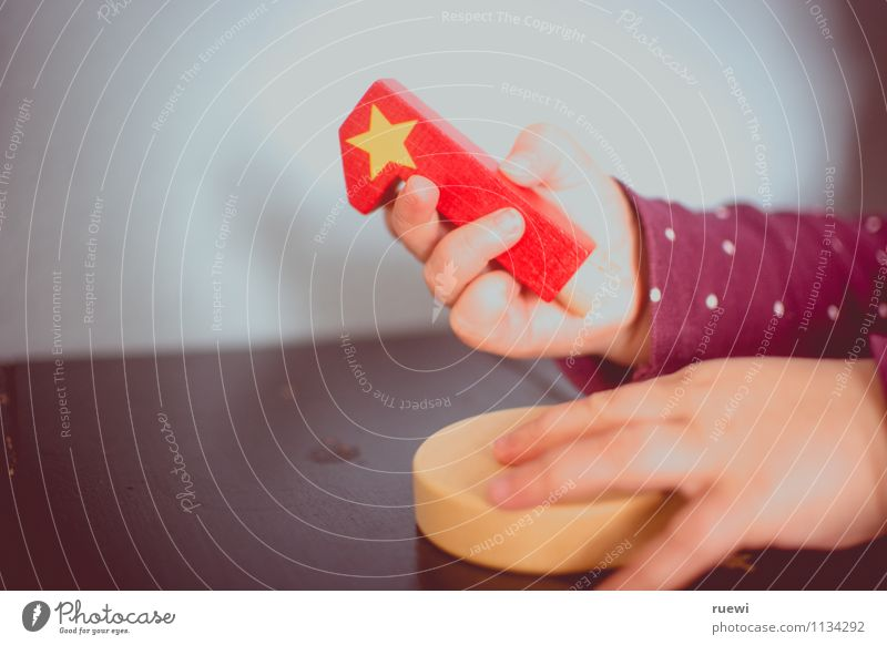Human being Child Red Hand Joy Life Wood Happy 1 Growth Infancy Birthday Beginning Baby Star (Symbol) Touch