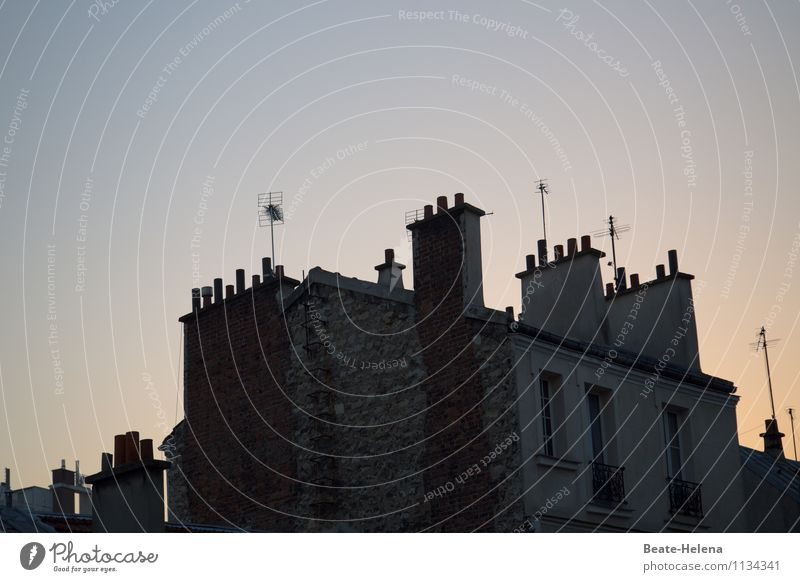 Parisian roofscape France Capital city House (Residential Structure) Wall (barrier) Wall (building) Facade Window Roof Chimney Antenna Old Glittering