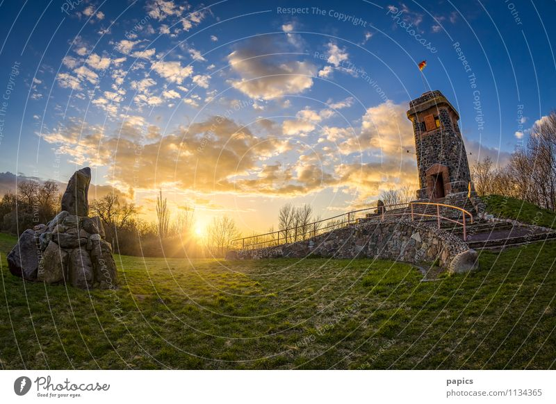 Wartberg Niederndodeleben (Magdeburg) Environment Nature Landscape Sky Clouds Sun Rock Tower Emotions Romance Lower Dode Life Colour photo Multicoloured
