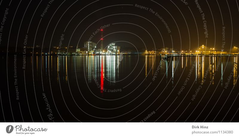 Nightlights / Kiel Technology Advancement Future Industry Water Horizon Town Skyline Industrial plant Harbour Chimney Exceptional Maritime Yellow Red Black