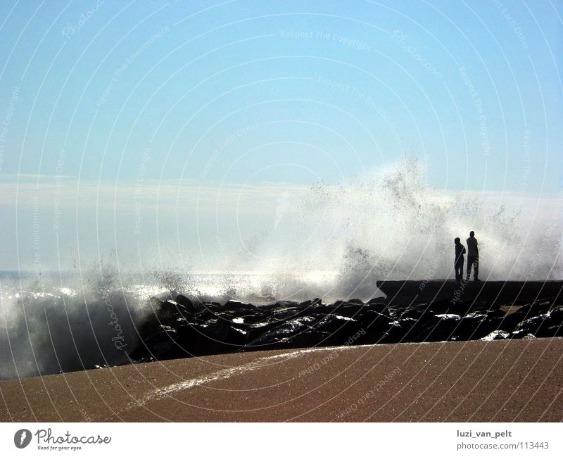 Sky Ocean Beach Far-off places Freedom Landscape Waves Coast Horizon Africa Longing Wanderlust Namibia Atlantic Ocean White crest Swakopmund