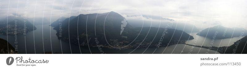 Water Sky Dark Mountain Lake Fog Tall Switzerland Italy Alps Panorama (Format) Canton Tessin Lugano