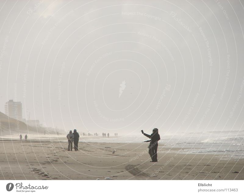 hors season Beach Ocean Sylt Westerland To go for a walk North Sea Fog Morning Wenningsedt
