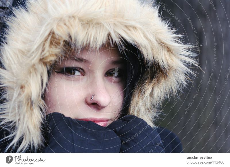 Woman Youth (Young adults) Beautiful Young woman Winter 18 - 30 years Black Face Cold Adults Healthy Brown Ice Frost Freeze Black-haired