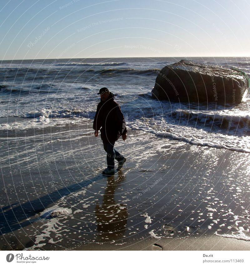 Man Water White Blue Summer Beach Vacation & Travel Dark Stone Lighting Waves Coast Hiking Wet Rock To go for a walk