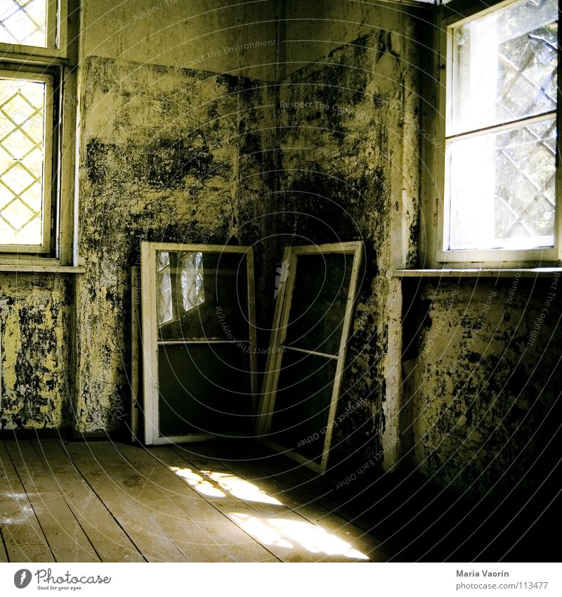 Old House (Residential Structure) Dark Window Wood Building Room Derelict Vantage point Decline Ruin Grating Dismantling Feeble Shaft of light Ventilate