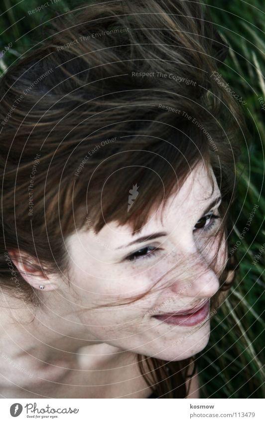 Woman Green Summer Grass Movement Wind Judder