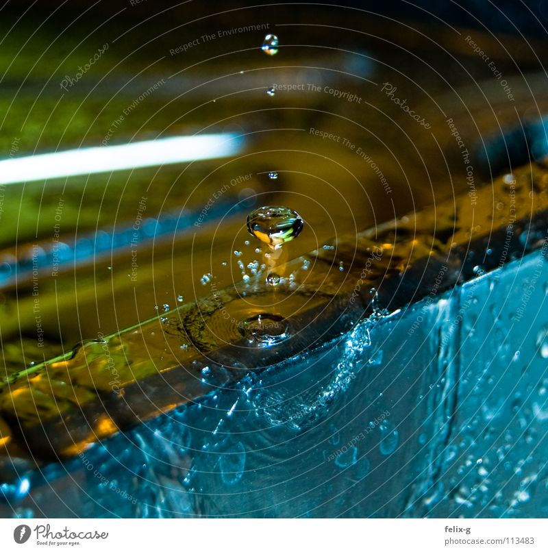 Water Drops of water Kitchen Sink Kitchen sink Effluent Slow motion