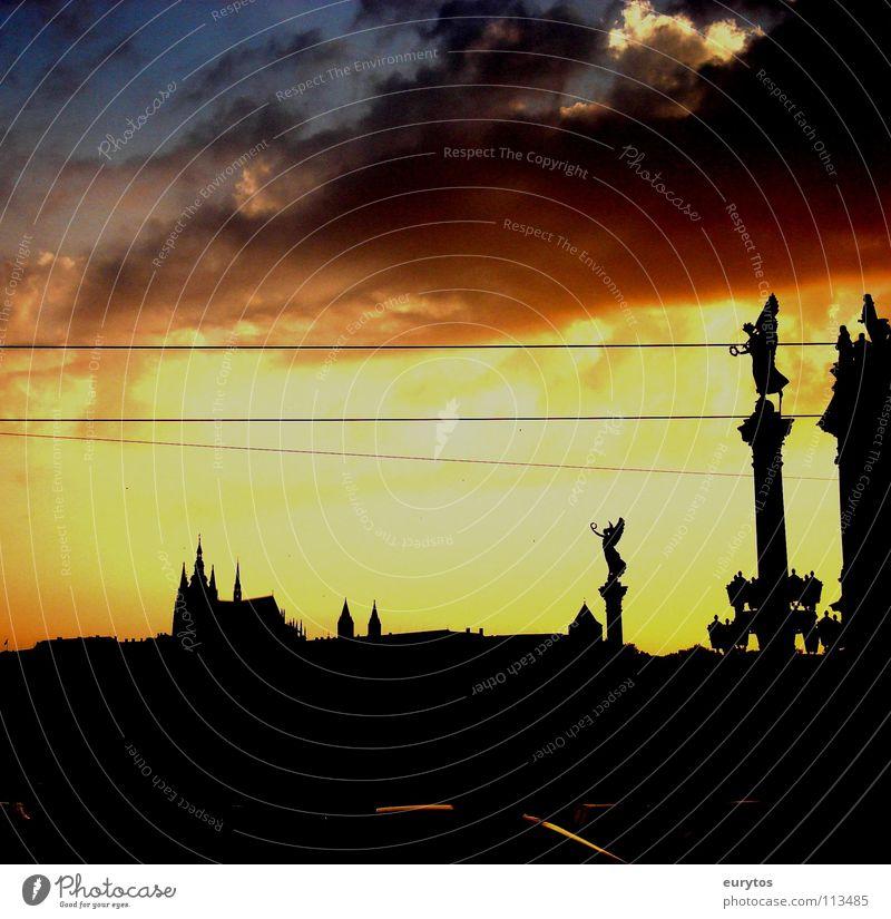 Sky City Black Clouds Warmth Landscape Religion and faith Horizon Peace Physics Castle Burn Glow Prague Monastery Czech Republic
