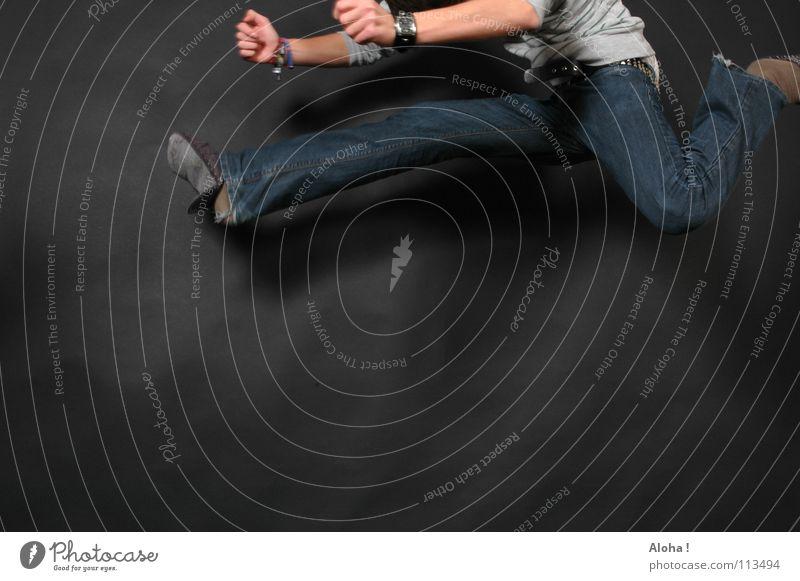 Man Hand Playing Jump Legs Feet Fear Elegant Clock Dangerous Electricity Threat String Level Jeans Asia