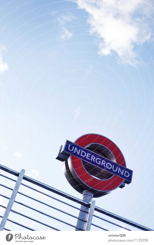 Under The Ground. Art Esthetic London London Underground Road sign Signage Handrail Blue sky Great Britain Symbols and metaphors Landmark Tourist Attraction