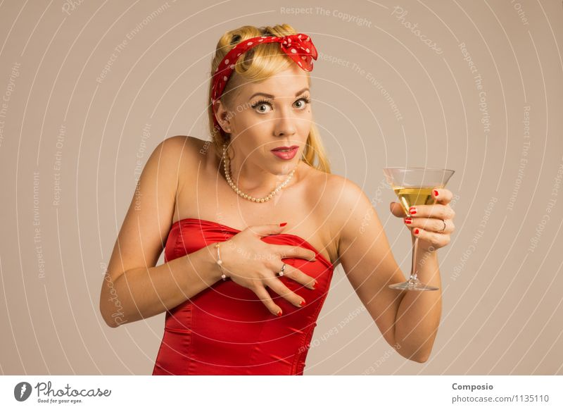Woman frightened with champagne in her hand Lifestyle Elegant Style Alcoholic drinks Leisure and hobbies Night life Bar Cocktail bar Feminine Adults 1