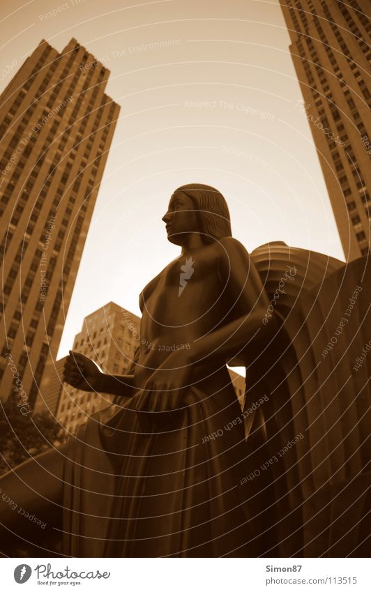 Rockefeller Statue Rockefeller Center New York City Town High-rise Landmark Monument Sepia centre Perspective Architecture
