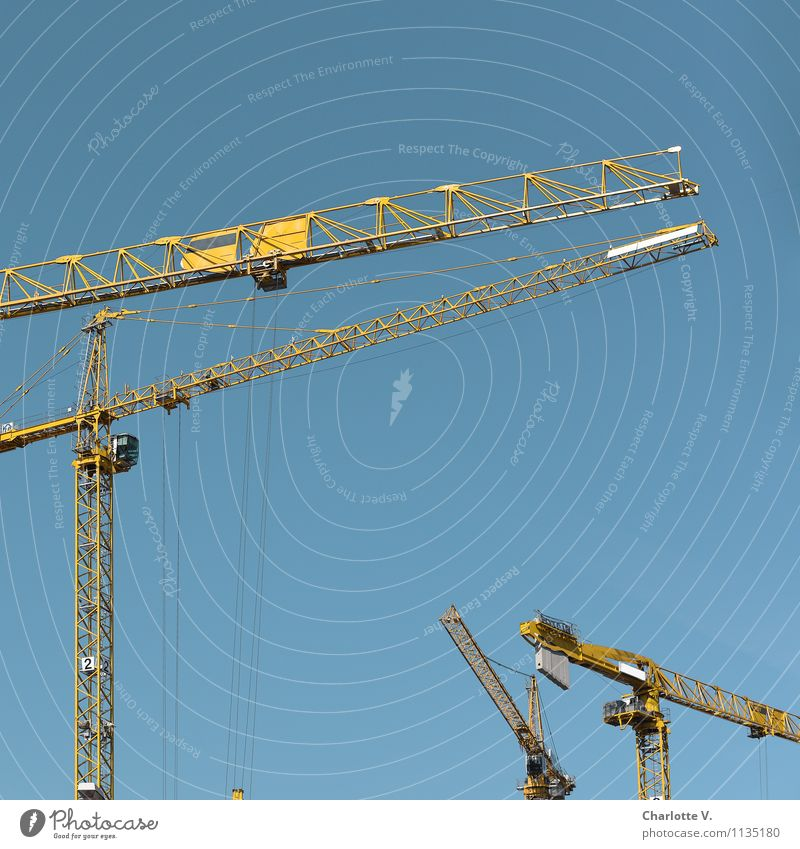 Build up, build up, build up! Construction site Crane Metal Stand Elegant Friendliness Thin Blue Yellow Contentment Power Change Luxury Sky Skyward Connection