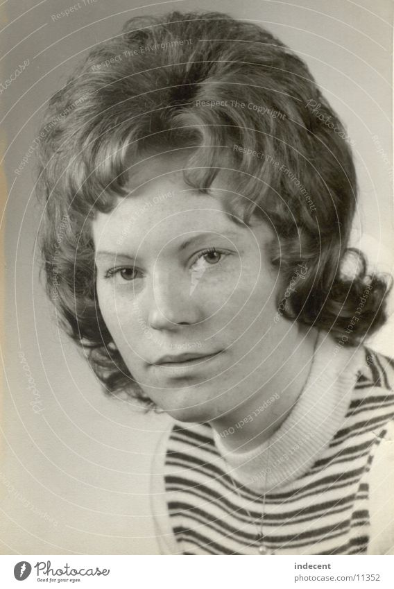 At a young age Seventies Short haircut Portrait photograph Woman 1973 Black & white photo Child