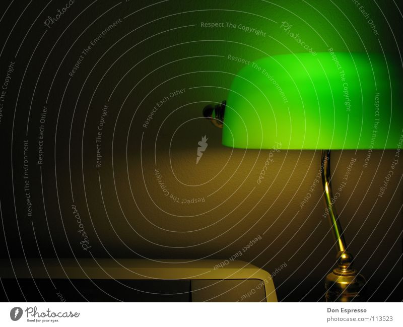 Green light #3 - Now also with printer! Poker Lamp Desk Work and employment Workplace Gold Cozy Late banker lamp Evening Night Light Shadow