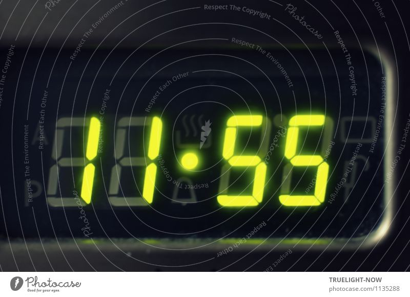 """Five to twelve... Measuring instrument Clock Advancement Future High-tech Stove & Oven Glass Metal Sign Digits and numbers """"Time Clock"""" Digital clock Green"""