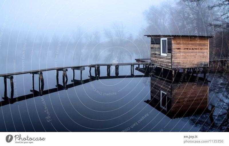 Nature Blue Relaxation Landscape Loneliness Calm Winter Cold Environment Sadness Autumn Lanes & trails Lake Contentment Fog Bridge