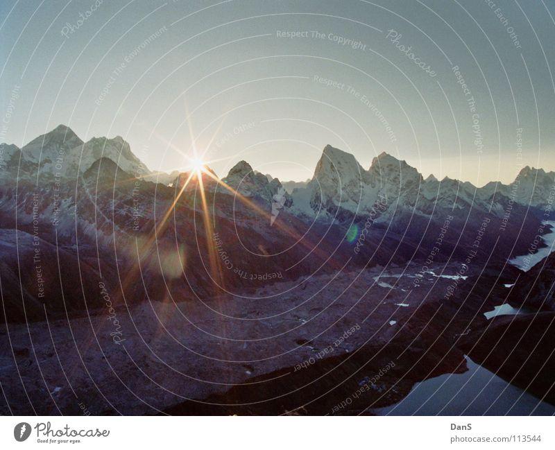 Nature Sun Mountain Bright Hiking Tall Idyll Wake up Mountain lake Nepal Himalayas