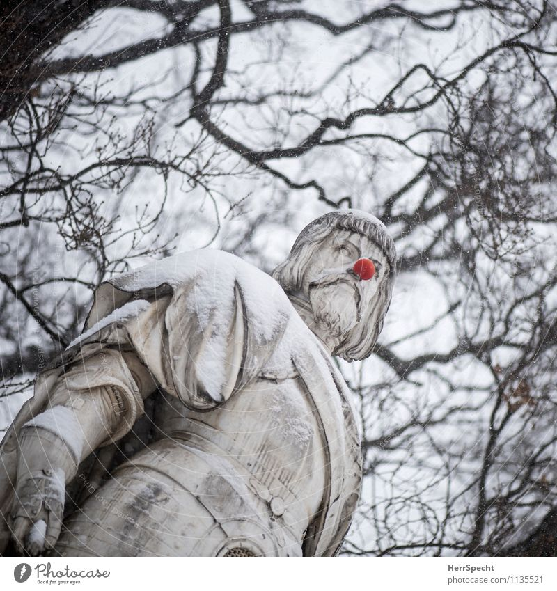 jester Art Sculpture Sky Winter Snow Tree Vienna Monument Funny Round Red Statue Clown Nose Joke Snow layer Tilt Crazy town hall square Turkish siege