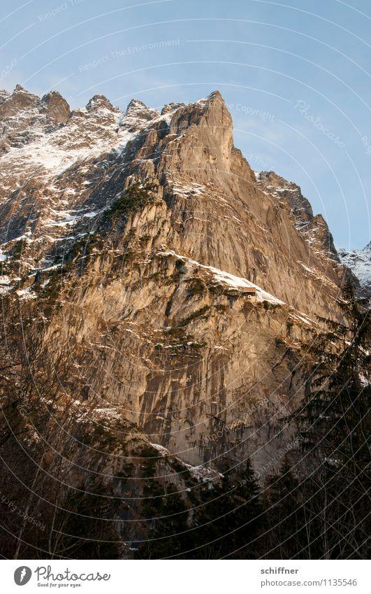 Oh, shock, the depth! Environment Nature Landscape Rock Alps Mountain Peak Snowcapped peak Cold Alpine Bernese Oberland Jungfrau region Schreckhorn