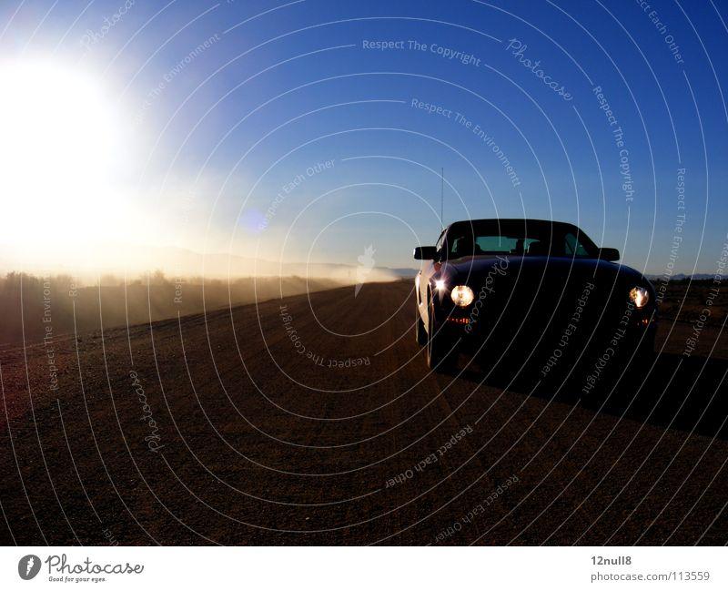 Joy Loneliness Street Car USA Desert Highway Americas Traffic infrastructure Dust Ski run Nevada Cloud of dust