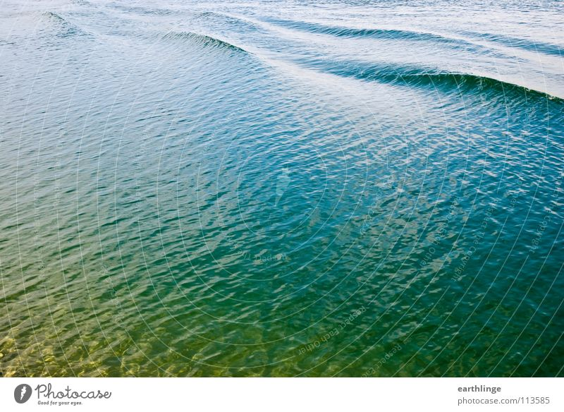 The channel has waved 1 Landscape format Colour photo Digital photography Surface Green Reflection Waves Smoothness Calm Break Yellow Glittering