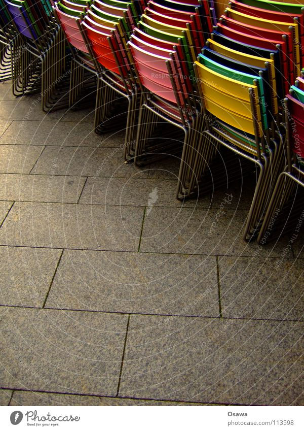 street café Café Sidewalk café Places Chair Concrete Gray Multicoloured Gastronomy Break Winter break Holiday season High season Street Stack stacking chairs