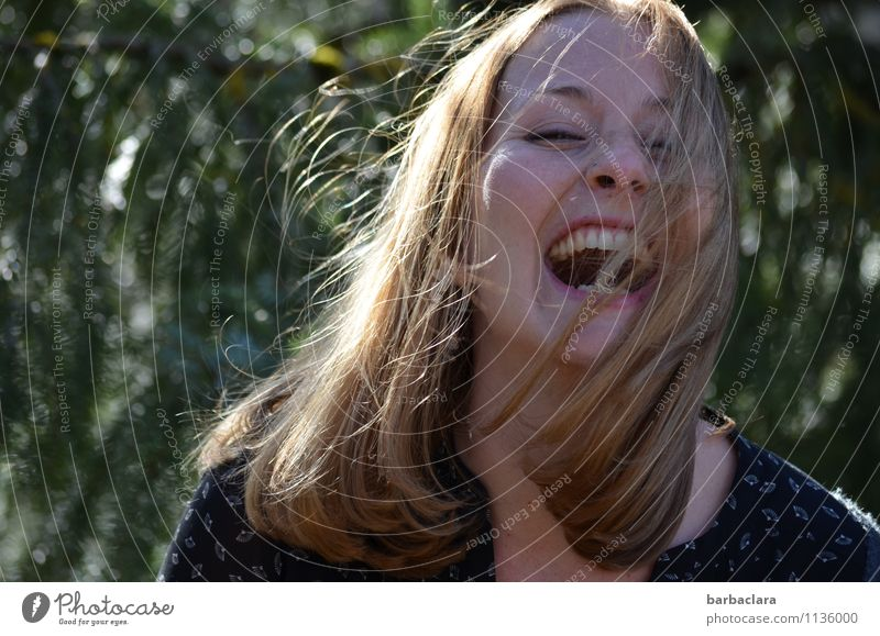 I'm never gonna eat those mushrooms again. Feminine Young woman Youth (Young adults) Woman Adults Nature Forest Blonde Long-haired Laughter Happy Crazy Wild