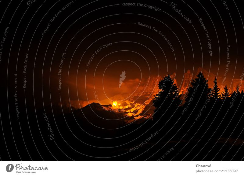 illumination Landscape Fire Snow Mountain Dents du Midi Switzerland Alps Relaxation Esthetic Exceptional Infinity Orange Black Illumination Visual spectacle