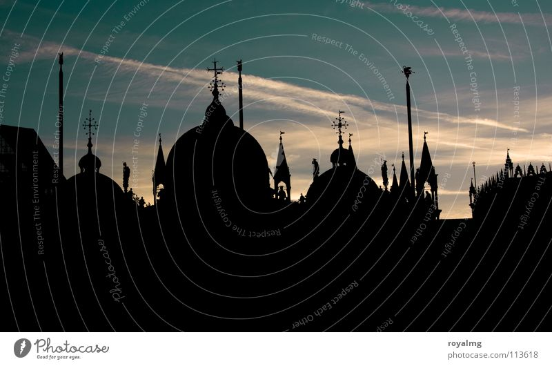 Sky Sun Blue Calm Black Dark Religion and faith Places Roof Peace Tower Italy Point Manmade structures Dome Venice