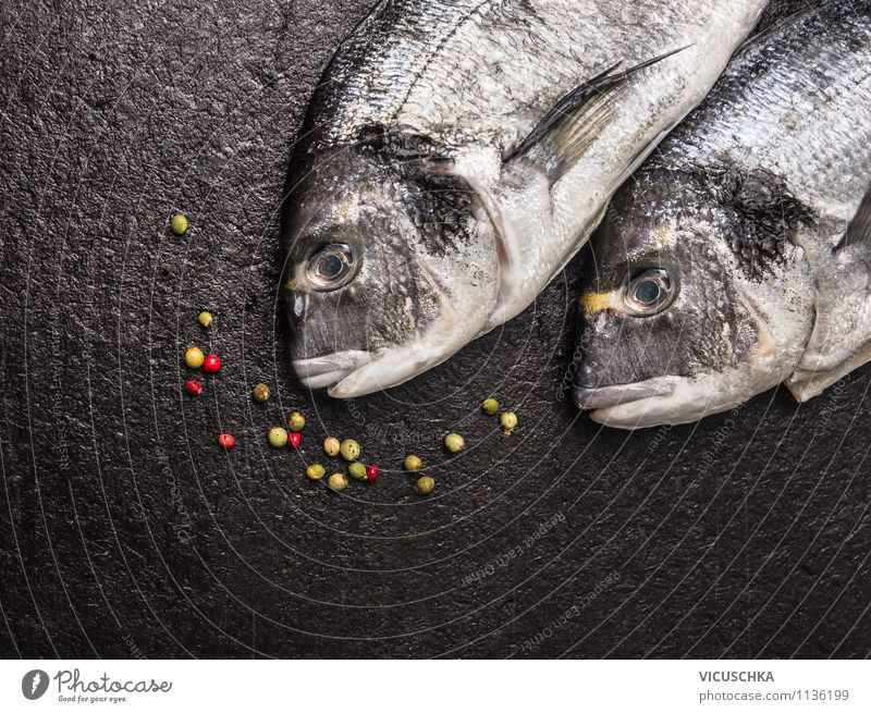 Dorado fish on black table Food Fish Herbs and spices Nutrition Lunch Dinner Banquet Organic produce Diet Style Design Healthy Eating Life Table Kitchen