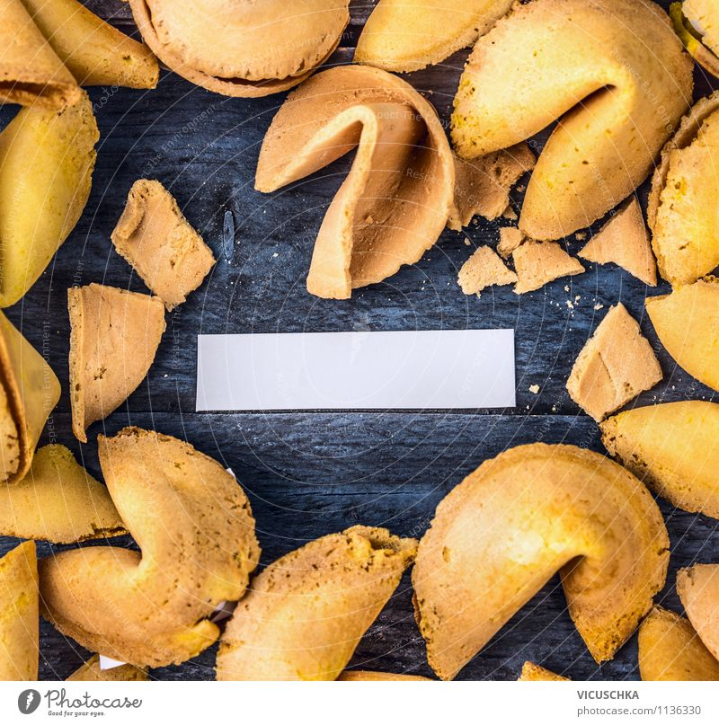 Opened fortune cookies with empty paper strips Dessert Asian Food Style Design Game of chance Entertainment Restaurant Sign Dream Joy Happy Self-confident