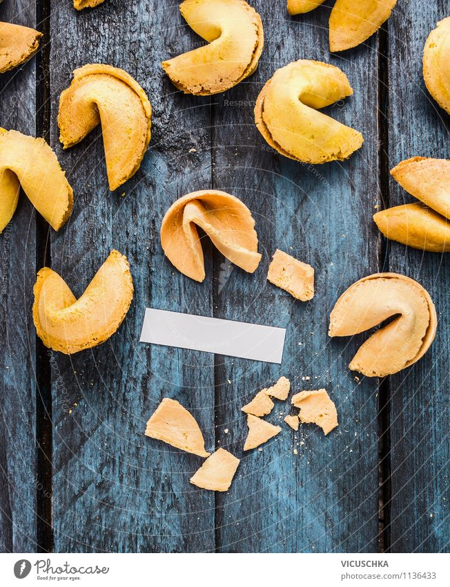 Open fortune cookies with paper strips Dessert Lifestyle Style Design Entertainment Restaurant Feasts & Celebrations Sign Moody Joy Happy Protection Wisdom