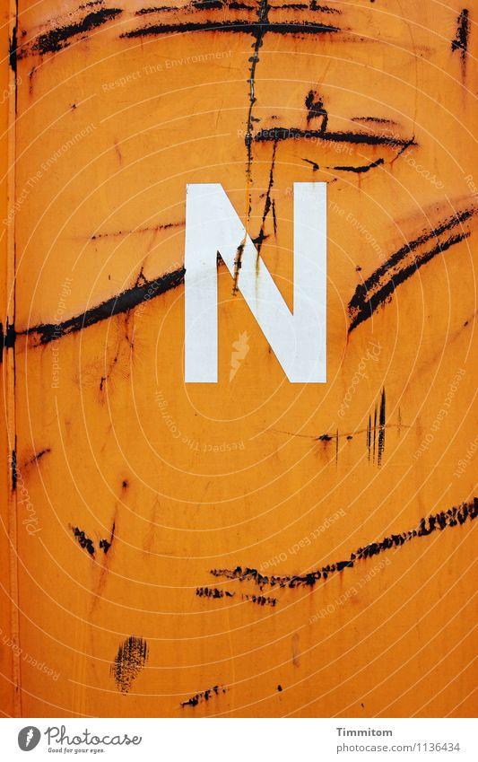 An N. Container Metal Plastic Characters Line Esthetic Simple Orange Emotions Logistics Letters (alphabet) Scratch mark Rust Colour photo Exterior shot Deserted