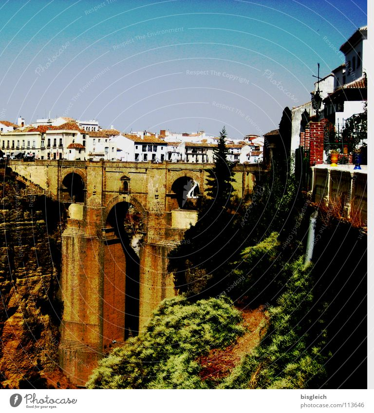 City Senior citizen Architecture Europe Bridge Spain Deep Canyon Tourist Attraction Andalucia City trip Ronda