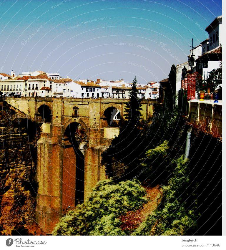 City Senior citizen Architecture Europe Bridge Spain Deep Canyon Tourist Attraction Andalucia City trip Ronda