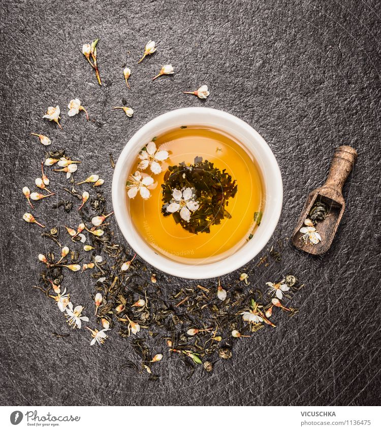 Cup with green jasmine tea on black background Food Beverage Tea Style Design Alternative medicine Healthy Eating Fitness Life Yellow Fragrance Relaxation
