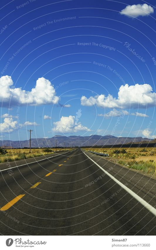 Far-off places Street Landscape USA Asphalt Infinity Americas Direction Traffic infrastructure Beautiful weather Route 66
