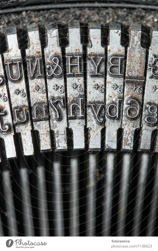 Typewriter detail Old Metal Dirty Office Technology Communicate Network Write Rust Steel Nostalgia Text Communication Performance Classic Old fashioned