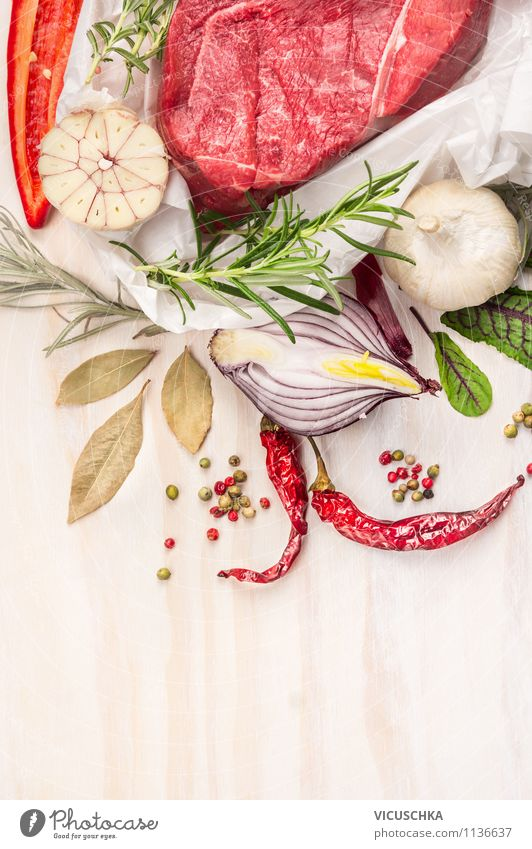 Raw meat with herbs and spices Food Meat Vegetable Herbs and spices Nutrition Lunch Banquet Organic produce Diet Style Design Healthy Eating Life Table Kitchen