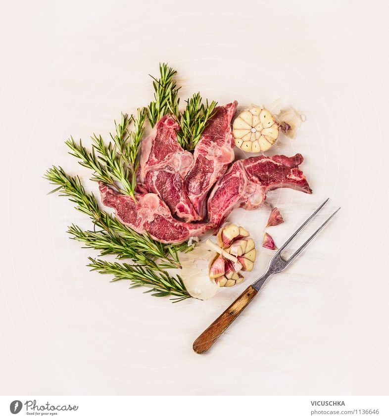 Lamb, rosemary and garlic with meat fork Food Fish Herbs and spices Nutrition Dinner Banquet Organic produce Diet Fork Style Design Healthy Eating Life Table