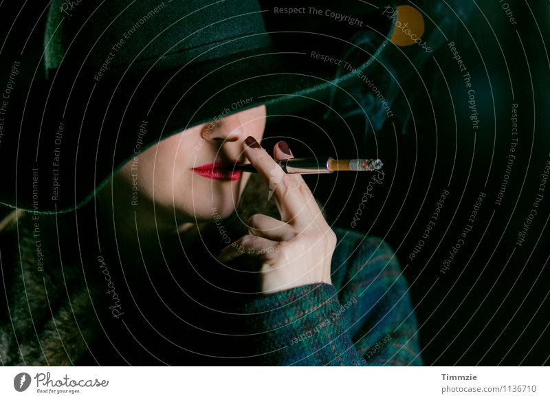 oh bohème Young woman Youth (Young adults) Life Lips Fingers 1 Human being 18 - 30 years Adults Fashion Hat Smoking Esthetic Cool (slang) Elegant Eroticism